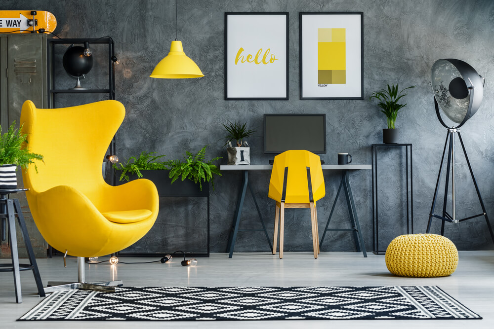 area rug in modern living room