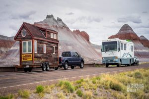 A tiny mobile home on road