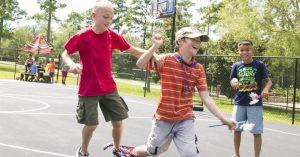 Kids having fun in Basket court