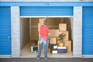 Man in his storage unit