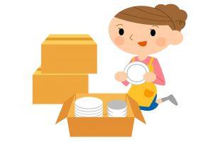 Woman unpacking plates