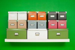 organizer boxes on self
