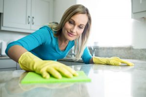 wiping the counter