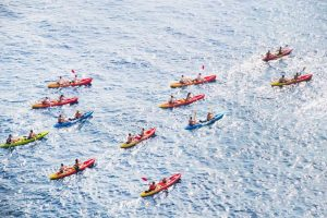 kayakers in ocean aerial view