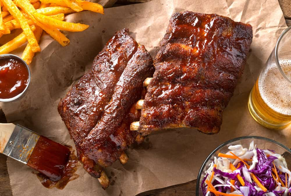 generic rack of ribs with a side of coleslaw