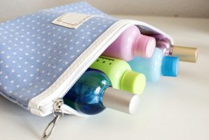 blue travel toiletry bag