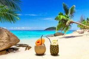 drinks on the tropical beach of thailand