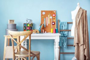 colorful sewing room with ongoing project