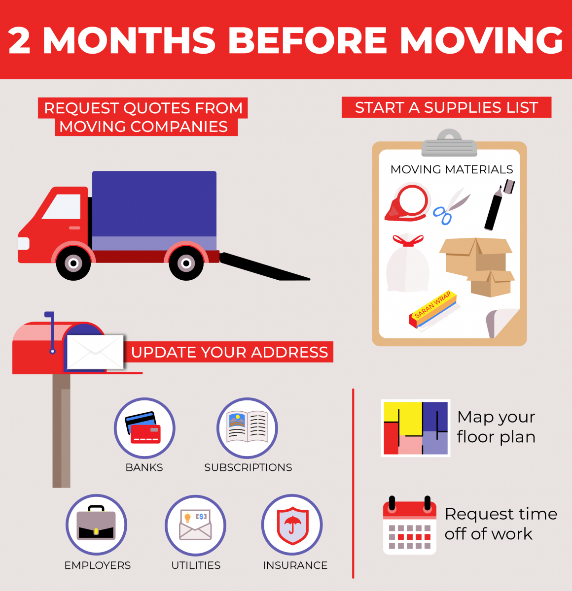 How to prep for your move 2 months before moving day.